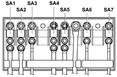 Схема блока предохранителей в моторном отсеке (SA)