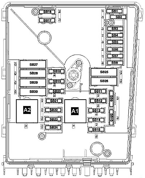 Схема блока предохранителей в моторном отсеке (SB)